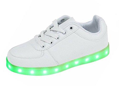 SMITHROAD Unisex 7 Farbe Farbwechsel USB Aufladen LED Leuchtend Sport Schuhe Sneaker Turnschuhe Weiß Gr.40