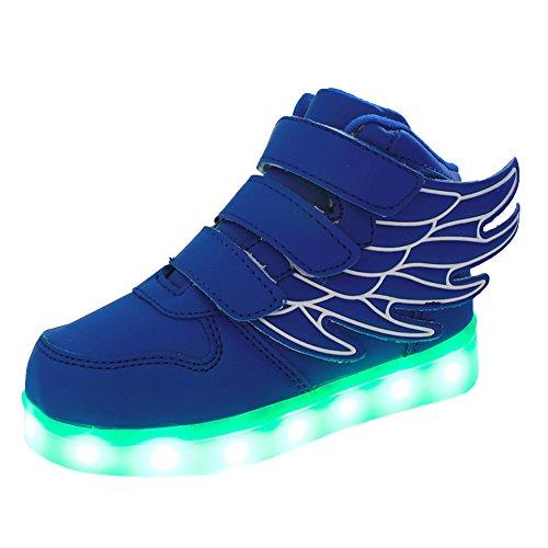 Free Fisher Jungen/Mädchen LED Leuchtend Sportschuhe Sneaker Turnschuhe, Blau, Gr. 30(Herstellergröße: 30)