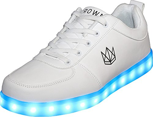 CROWN Classic White LED Schuhe Unisex (38, Weiß)