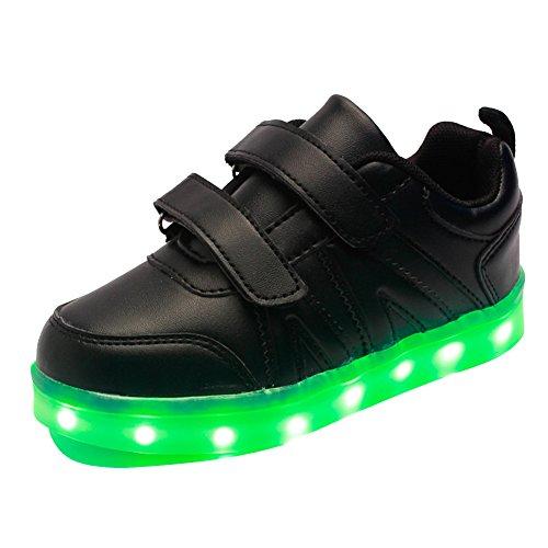 Free Fisher Jungen/Mädchen LED Leuchtend Sportschuhe Sneaker Turnschuhe, Schwarz, Gr. 35(Herstellergröße: 37)