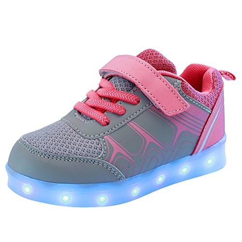 Free Fisher Jungen/Mädchen LED Leuchtend Sportschuhe Sneaker Turnschuhe, Grau und Pink, Gr. 29(Herstellergröße: 29)