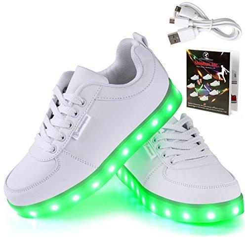 Angin-Tech® 7 Farbe USB Aufladen LED Leuchtend Sport Schuhe Sportschuhe Sneaker Turnschuhe für Unisex-Erwachsene Herren Damen UK7/EU41