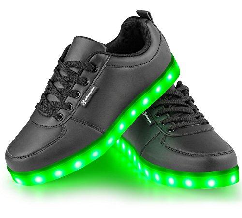 schwarz 7 Farbe Unisex LED-Beleuchtung Blink USB-Lade Turnschuh-Schuhe für Abschlussball-Partei Weihnachten (Schiff durch DHL 5-7 Tage)(37)